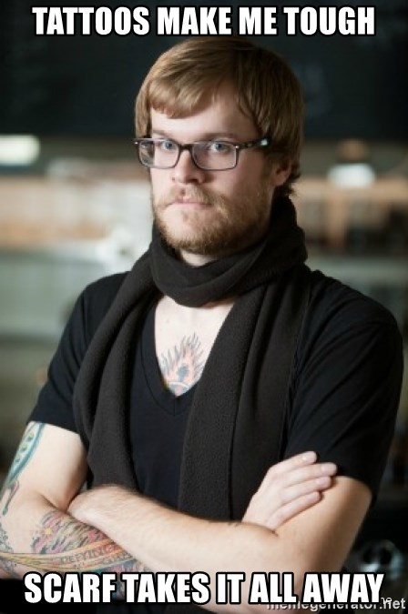 hipster Barista - tattoos make me tough scarf takes it all away