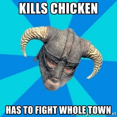 skyrim stan - kills chicken has to fight whole town