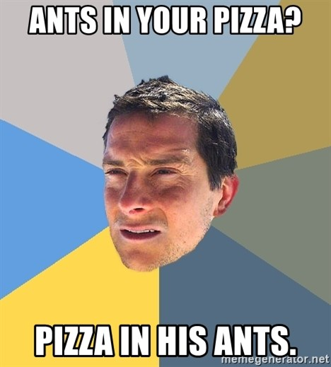 Bear Grylls - Ants in your pizza? pizza in his ants.
