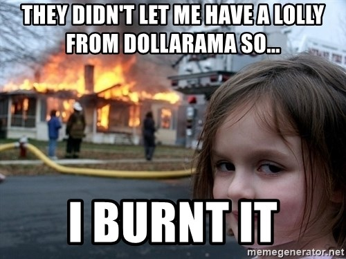 Disaster Girl - They didn't let me have a lolly from dollarama so... i burnt it