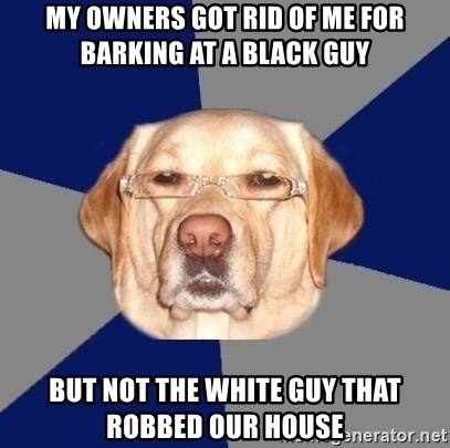 Racist Dawg - My owners got rid of me for barking at a black guy But not the white guy that robbed our house