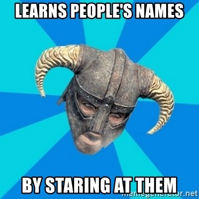 skyrim stan - Learns people's names by staring at them