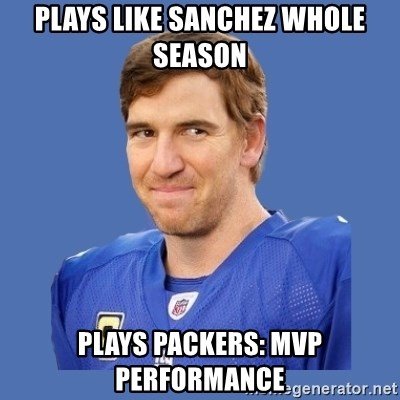 Eli troll manning - Plays Like Sanchez whole Season Plays Packers: MVP Performance
