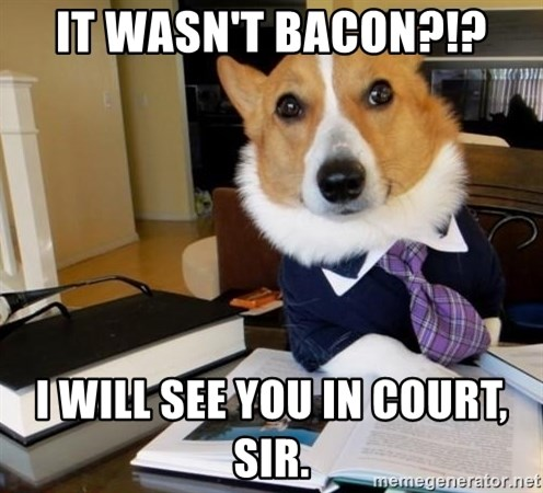 Dog Lawyer - IT WASN'T BACON?!? I WILL SEE YOU IN COURT, SIR.