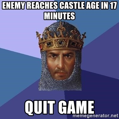 Age Of Empires - Enemy reaches castle age in 17 minutes Quit game