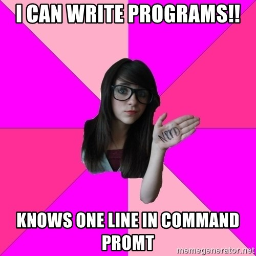 Idiot Nerd Girl - I can write programs!! knows one line in command promt