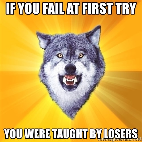 Courage Wolf - If you fail at first try You were taught by losers