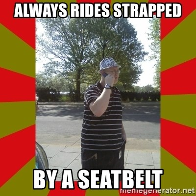 the enforcer  - always rides strapped by a seatbelt