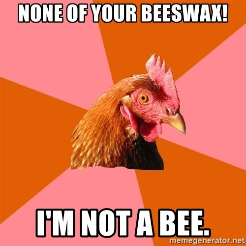 Anti Joke Chicken - none of your beeswax! i'm not a bee.