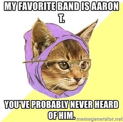 Hipster Kitty - My favorite band is aaron T. You've probably never heard of him.