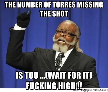 Too high - the number of torres missing the shot is too ...(wait for it) fucking high !!
