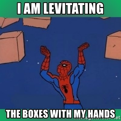 60's spiderman - I am levitating the boxes with my hands