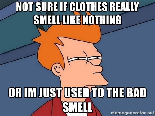 Futurama Fry - Not sure if clothes really smell like nothing  or im just used to the bad smell