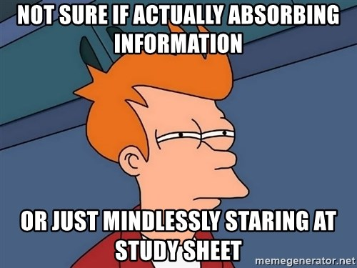Futurama Fry - not sure if actually absorbing information or just mindlessly staring at study sheet