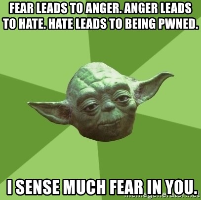 Advice Yoda Gives - Fear leads to anger. Anger leads to hate. Hate leads to being PWNED.   I sense much fear in you.