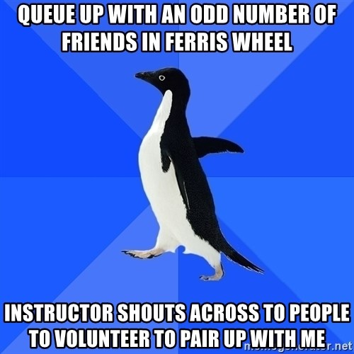 Socially Awkward Penguin - queue up with an odd number of friends in ferris wheel instructor shouts across to people to volunteer to pair up with me