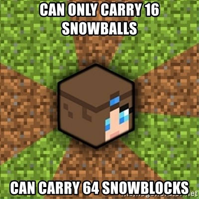 Minecraft Logic - Can only carry 16 snowballs can carry 64 snowblocks
