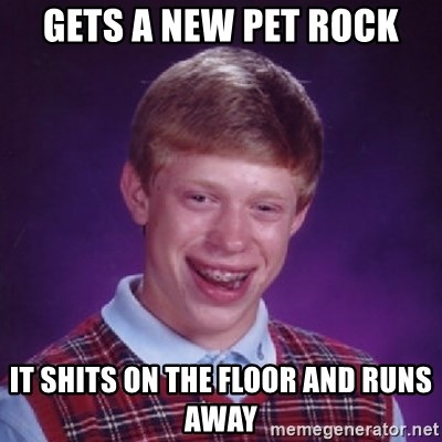Bad Luck Brian - gets a new pet rock it shits on the floor and runs away