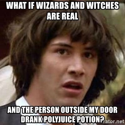 Conspiracy Keanu - what if wizards and witches are real and the person outside my door drank polyjuice potion?