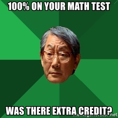 High Expectations Asian Father - 100% on your math test was there extra credit?