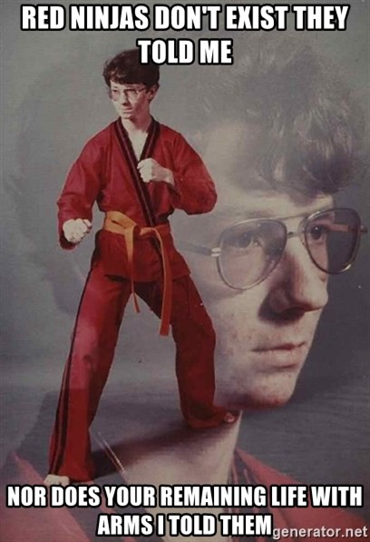 PTSD Karate Kyle - red ninjas don't exist they told me nor does your remaining life with arms i told them