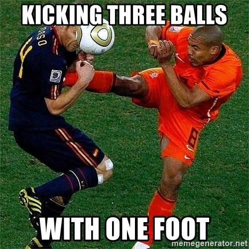 Netherlands - kicking three balls  with one foot