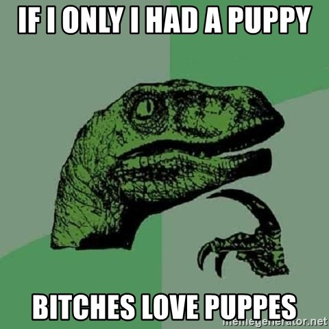 Philosoraptor - IF I ONLY I HAD A PUPPY BITCHES LOVE PUPPES