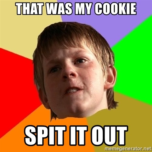 Angry School Boy - thAT WAS my cookie spit it out