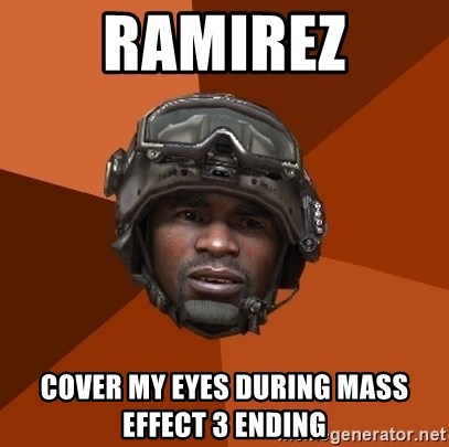 Sgt. Foley - Ramirez cover my eyes during mass effect 3 ending