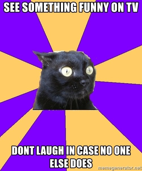 Anxiety Cat - See something funny on tv dont laugh in case no one else does
