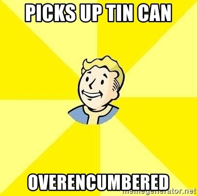 Fallout 3 - Picks up tin can overencumbered