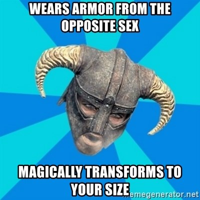 skyrim stan - wears armor from the opposite sex magically transforms to your size