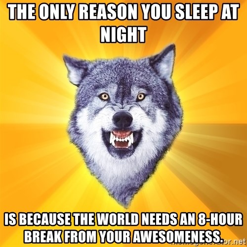 Courage Wolf - The Only reason you sleep at night is because the world needs an 8-hour break from your awesomeness.