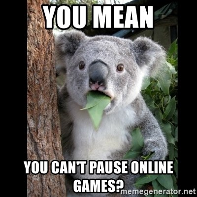 Koala can't believe it - you mean You can't pause online games?