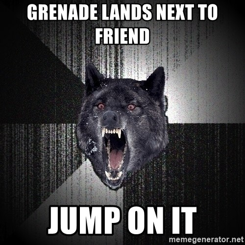 Insanity Wolf - grenade lands next to friend jump on it