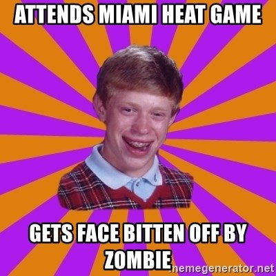 Unlucky Brian Strikes Again - Attends Miami Heat Game gets face bitten off by zombie