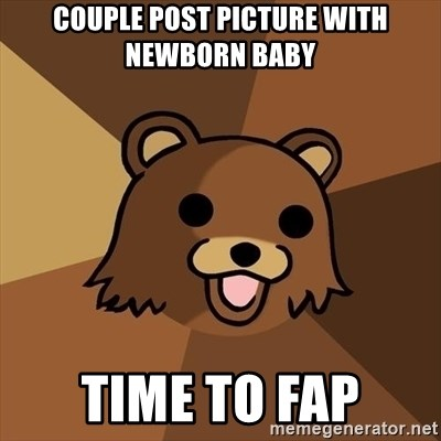 Pedobear - Couple post picture with newborn baby time to fap
