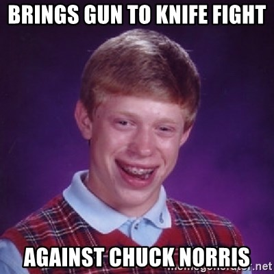 Bad Luck Brian - brings gun to knife fight against chuck norris