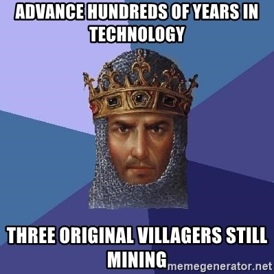 Age Of Empires - advance hundreds of years in technology three original villagers still mining