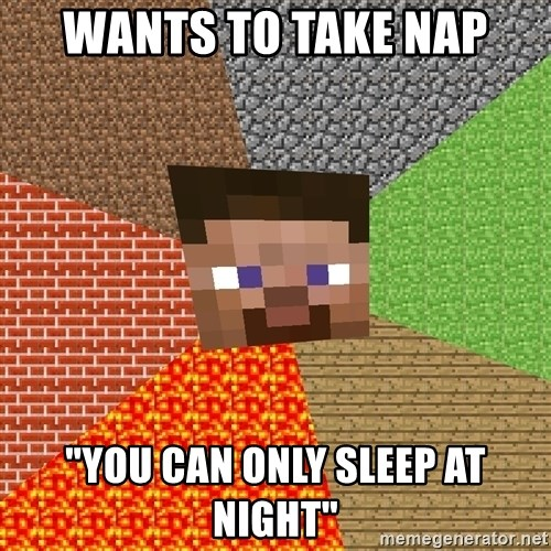 """Minecraft Guy - wants to take nap """"you can only sleep at night"""""""
