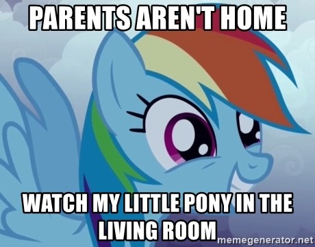 rainbow dash excited - parents aren't home watch my little pony in the living room