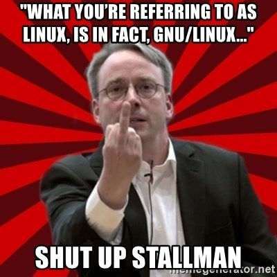 """Angry Linus - """"What you're referring to as Linux, is in fact, GNU/Linux..."""" Shut up Stallman"""