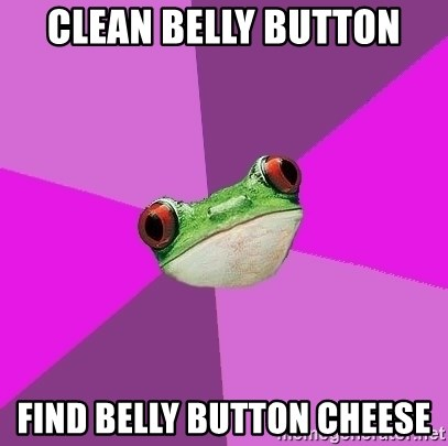 Foul Bachelorette Frog - cLEAN bELLY button find belly button cheese