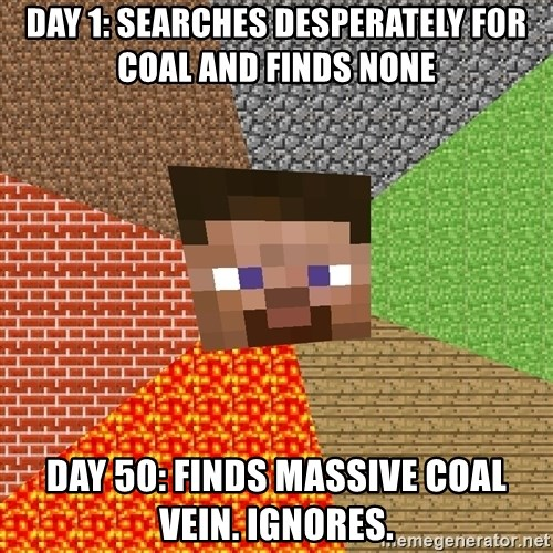 Minecraft Guy - DAY 1: Searches desperately for coal and finds none DAY 50: Finds massive coal vein. ignores.