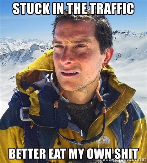 Bear Grylls Loneliness - stuck in the traffic better eat my own shit