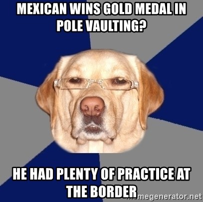 Racist Dawg - mexican wins gold medal in pole vaulting? he had plenty of practice at the border