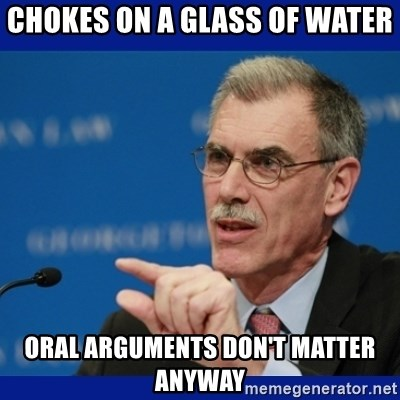 Donald Verrelli - chokes on a glass of water oral arguments don't matter anyway