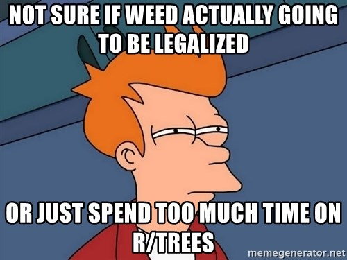 Futurama Fry - NOT SURE IF WEED ACTUALLY GOING TO BE LEGALIZED OR JUST SPEND TOO MUCH TIME ON R/TREES