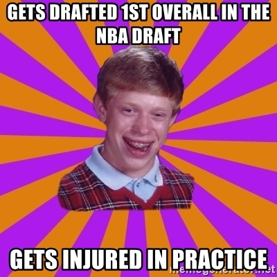 Unlucky Brian Strikes Again - gets drafted 1st overall in the nba draft gets injured in practice