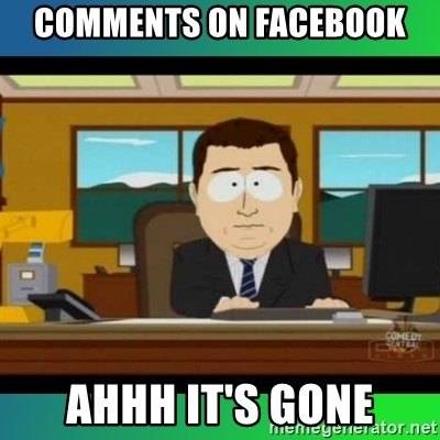 AH ITS GONE - COmments on Facebook ahhh it's gone